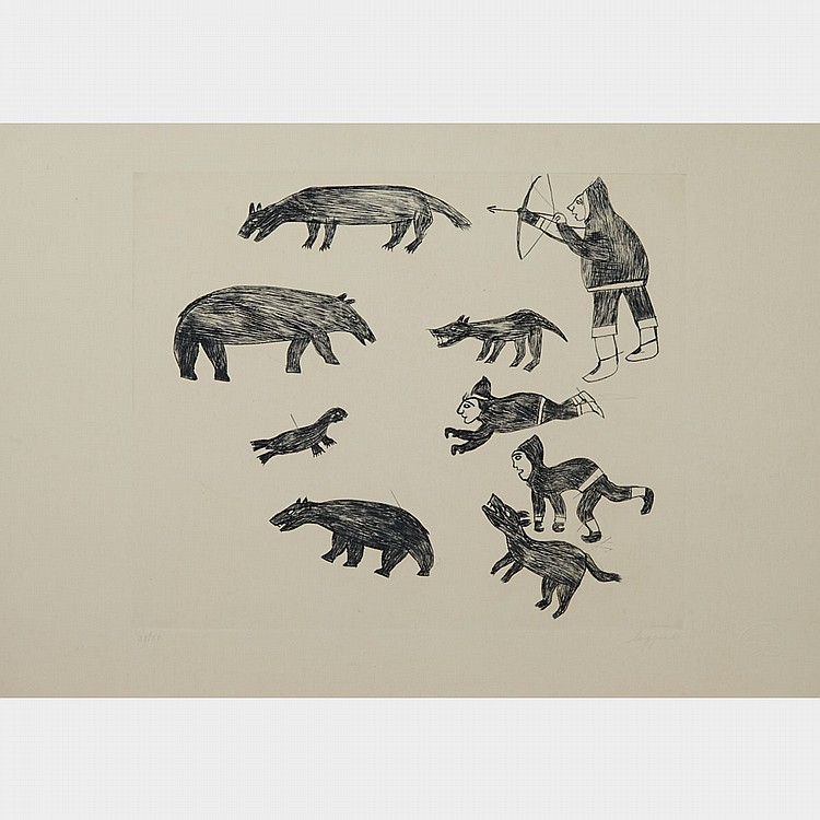 SAGGIAK (1897-1980), UNTITLED (NO. 63), engraving (unframed), 9.75
