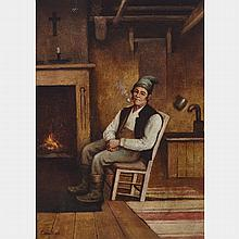 CHARLES EDOUARD MASSON HUOT, HABITANT WITH PIPE, oil on canvas, 11.25 ins x 8.25 ins; 28.6 cms x 21 cms