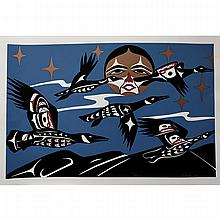 """PATRICK AMOS (INDIGENOUS, 1957-) , """"CANADA GEESE"""" AND """"TLU - KWANA"""", TWO SILKSCREENS; FORMER - SIGNED, TITLED, NUMBERED 123/200 AND DATED 2001 IN PENCIL (Sheet, 15"""" x 22""""); LATTER - SIGNED, TITLED, NUMBERED 64/200 AND DATED 2002 IN PENCIL"""