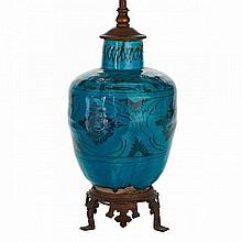 Kashan Turquoise Glazed Jar, Persia, 16th/17th Century