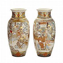 Pair of Large Satsuma Vases, Meiji Period, 1900-1910
