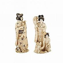 Two Tinted Ivory Okimono of Ladies, Meiji Period, 19th Century