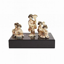 Five Ivory Okimono of Musicians, Early 20th Century