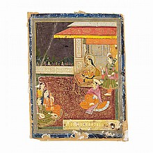 Late Mughal School, Possibly Bikaner, A PRINCESS WITH ATTENDANTS AND MUSICIANS ON A MAROON AND GOLD CARPET, 18TH CENTURY