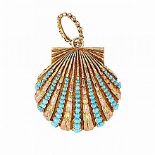 19th Century 18k Yellow And Rose Gold Vinaigrette Pendant, formed as a clam and set with numerous round turquoise cabochons, the interior fitted grill with overlain multi-colour gold floral decoration