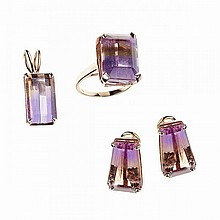 Four Piece 14k Yellow Gold Jewellery Suite, composed of a ring, pendant and earrings, each set with an emerald cut ametrine