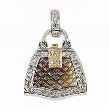 14k White And Yellow Gold Locket, formed as a purse and set with carved mother-of-pearl panels and 28 small single cut diamonds