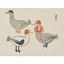 "MARK PITSEOLAK SR. (1945-2012), E7-976, CAPE DORSET / KINGAITBIRDS OF DELIGHTstonecut, 1961, 20/50, framed, sight17.75"" x 23.5"" — 45.1 x 59.7 cm.Estimate: $400—600"