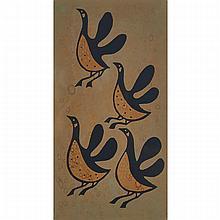 "KUDLALAK, CAPE DORSET / KINGAIT OR KELLYPALIK MANGITAK (1940-), E7-999, CAPE DORSET / KINGAITGEESE RISINGlinocut, 1957, from the edition of 30, framed15"" x 9"" — 38.1 x 22.9 cm.Literature:Sandra Buhai Barz, Inuit Artists Print Workbook, Volume III,"