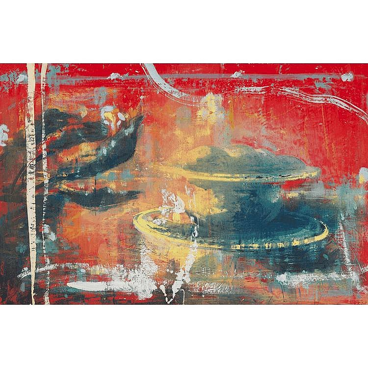 TONY SCHERMAN STILL LIFE, oil and encaustic on