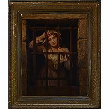 "After Charles Louis Lucien Muller (1815-1892) (IN COLLABORATION WITH ALFRED DE RICHEMONT (1857-1911), CHARLOTTE CORDAY IN PRISON, Oil on ""W. Schaus Artist Colourmen, New York"" stamped American canvas; bears signature ""C.L. Muller"" and"