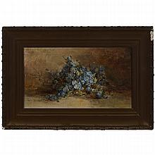 """Mary Herrick Ross (1856-1935), BLUE FLOWERS ON A LEDGE, 1898, Oil on canvas; signed and dated '98 lower left, 7"""" x 12.25"""" — 17.8 x 31.1 cm."""