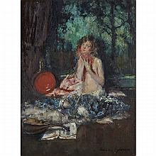 Indiana Gyberson (c. 1879-1928), LA CIGALE; THE CHINESE LANTERN, Pair of oils, the first title, an oil on board; signed lower right, the latter, an oil on panel; signed lower left, each signed and titled to gallery labels verso, 16