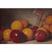 Lemuel Everett Wilmarth (1835-1918), STILL LIFE OF ORANGES, APPLES AND A BASKET, Oil on canvas; signed
