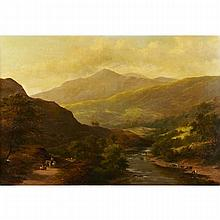 Adam Barland (active c. 1843-1863), DOLGELLY, NORTH WALES, Oil on canvas; signed lower left, titled to gallery labels verso, 34.5