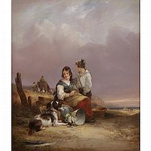 William Shayer Sr. (1787-1879), FISHERMAN'S CHILDREN, Oil on panel; signed lower left, signed at