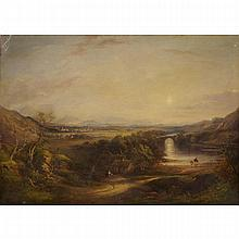 Thomas Creswick (1811-1869), TRAVELLERS IN AN EXTENSIVE LANDSCAPE WITH BRIDGE AND CITY VIEW IN THE DISTANCE, Oil on canvas; signed and dated 1840 bottom center, 30