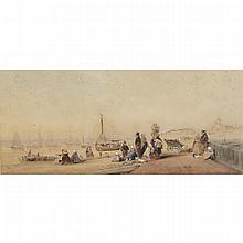 Robert Taylor Pritchett (1823-1907), THE BEACH OF SCHEVENINGEN, Watercolour and pencil on watercolour board; signed lower right, signed with monogram  at