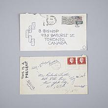 Richard Tuttle (1941- ), TWO ENVELOPES, Two standard white envelopes, one postmarked