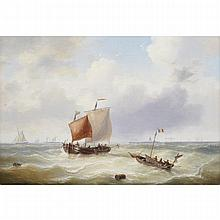 Louis Charles Verboeckhoven (1802-1889), FISHING BOATS, BARGES AND OTHER CRAFT COMING AND GOING FROM A PORT, Oil on canvas; signed lower left, 14.75