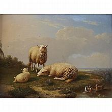 Franz van Severdonck (1809-1889), SHEEP AND DUCKS AT REST; SHEEP AND CHICKENS AT REST, Pair of oils on panel; each signed and dated 1868; the first signed and dated bottom center, the later signed and dated lower left, each certified by the artist