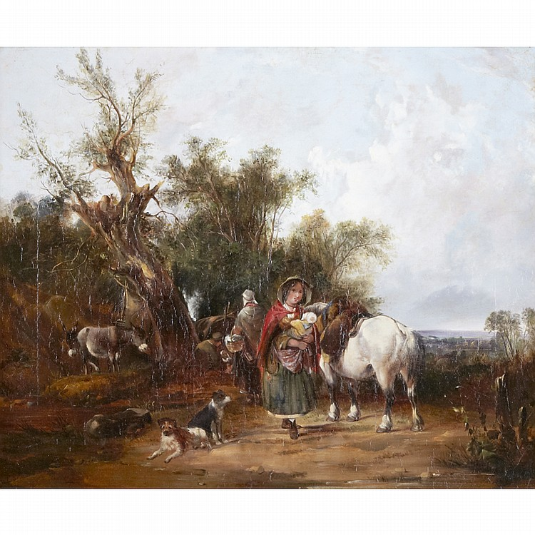 William Shayer Sr. (1787-1879), GYPSY ENCAMPMENT, Oil on canvas; signed lower left, 20