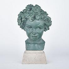 Sir Jacob Epstein (1880-1959), JOAN GREENWOOD, CHILD, Bronze with green patination; circa 1930/1, raised on stone base, Bronze 13.9