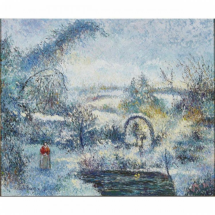 "Henri Claude Pissarro (1935-), MADAME NADEAU A LA ROSERAIE D'ATHIS SOUS LA NEIGE, Oil on canvas; signed lower left, signed ""H. Claude Pissarro 'le Petit Fils'"" and titled verso, 21.5"