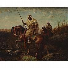 "Adolf Schreyer (1828-1899), BEDOUINS ON HORSEBACK, Oil on cradled panel; signed ""Ad. Schreyer"" lower left, 12.75"
