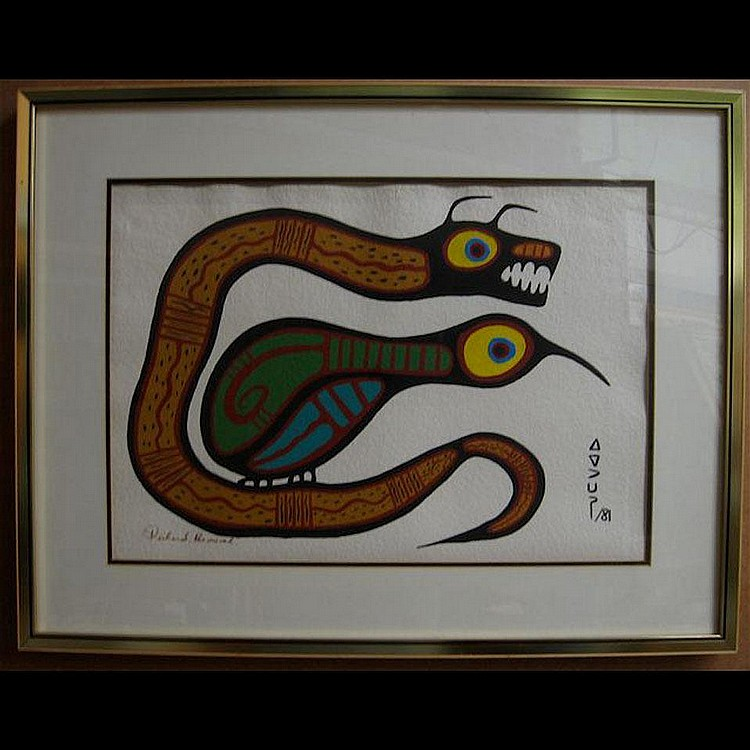 RICHARD BEDWASH (1936-) SNAKE AND BIRD; ACRYLIC ON