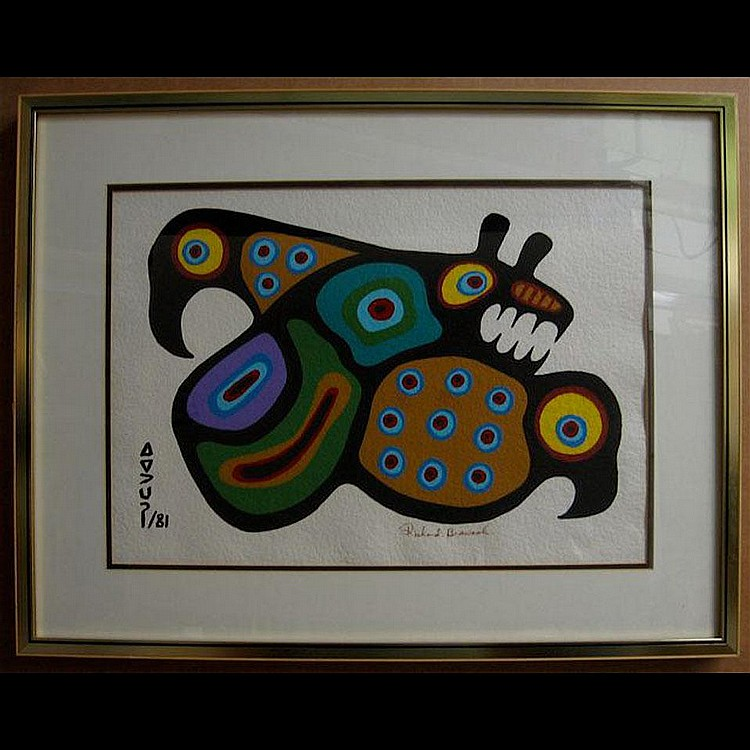 RICHARD BEDWASH (1936-) BEAR/BIRDS; ACRYLIC ON
