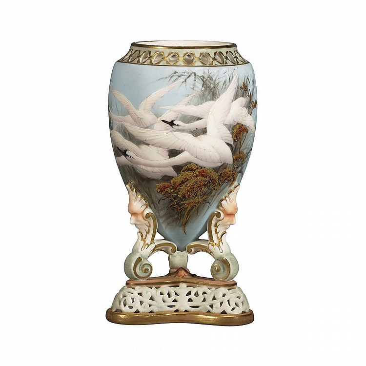 Royal Worcester Vase, Charles Baldwyn, 1897height 6.1