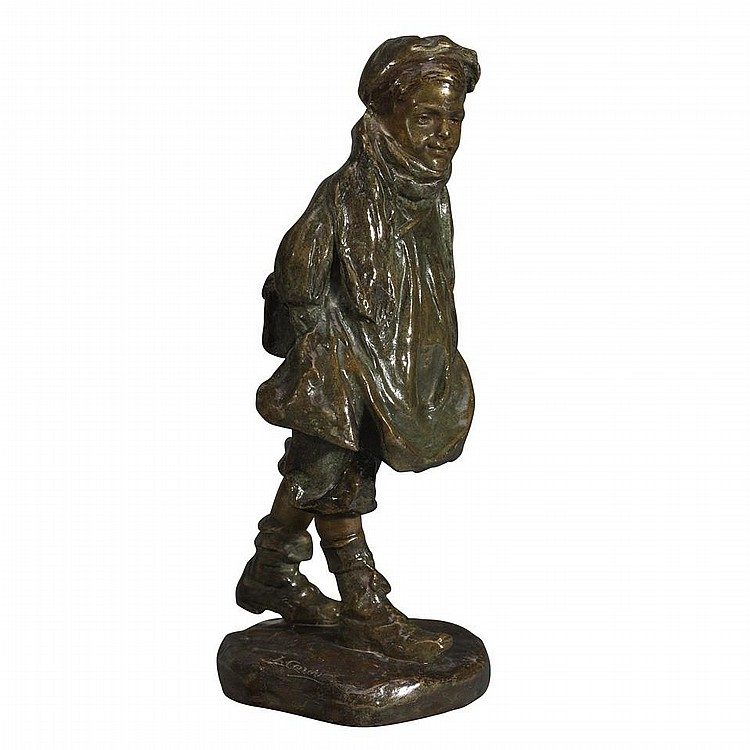 JOSE CARDONA, (Spanish, 1878-1923)SCHOOLBOY, patinated bronze, height 12
