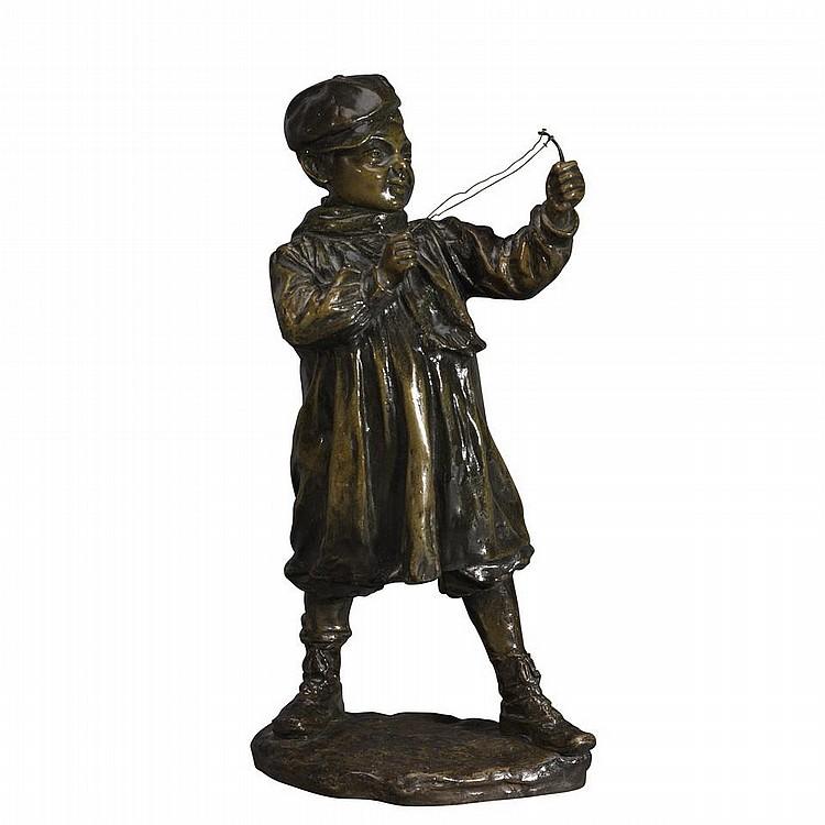 JOSE CARDONA, (Spanish, 1878-1923)BOY WITH SLINGSHOT, patinated bronze, height 12.6