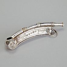 George IV Silver Bosun's Whistle, Joseph Willmore, London, 1821, length 3.9