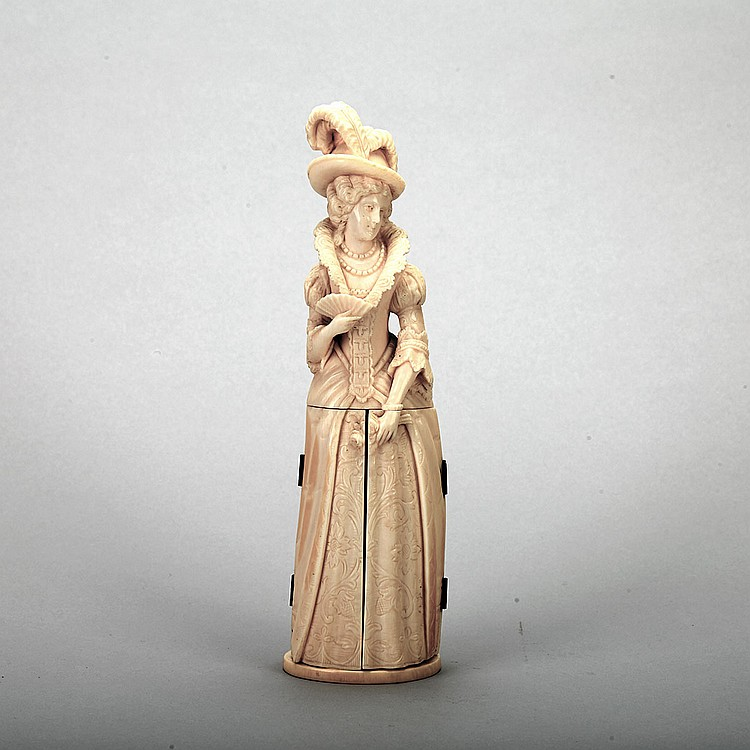 Dieppe Carved Ivory Triptych Figure, 19th century, height 8.75