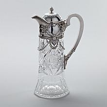 Russian Silver Mounted Cut Glass Wine Jug, 4th Artel, Moscow, 1908-17, height 13.6