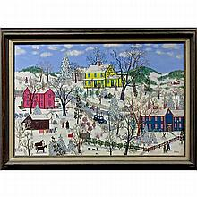 """JANIS PRICE (AMERICAN, 1933-), A JOYFUL WINTER DAY, OIL ON CANVAS; SIGNED LOWER RIGHT; TITLED TO ARTIST HAND WRITTEN LABEL VERSO, 24"""" x 36"""" - 61 x 91.4 cm."""