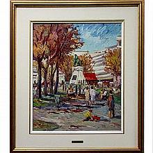 """GEORGE HRABE (CANADIAN, 1937-), DOMINION SQUARE, MONTREAL, OIL ON CANVAS; SIGNED LOWER LEFT; SIGNED AND TITLED VERSO, 24"""" x 20"""" — 61 x 50.8 cm."""