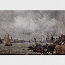 """John Ernest Aitken (1881-1957), BUSY SHIPPING HARBOUR, Sight 12.75"""" x 19"""" - 32.4 x 48.3 cm."""