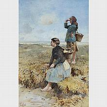 Hector Caffieri (1847-1932), YOUNG GIRLS LOOKING OUT TO THE SEA, Sight 13.5