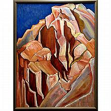 EDITH ELIZABETH HARRISON (CANADIAN, 1907-2001), SUMMIT (A.K.A. PYRAMID) 1972, OIL ON MASONITE; SIGNED LOWER RIGHT; SIGNED, TITLED AND DATED 1972 VERSO, 48 x 36 in — 121.9 x 91.4 cm