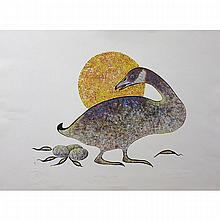 "EDDY COBINESS (INDIGENOUS, 1933-1996), ""NESTING GOOSE"" AND ""CANADA GEESE"", TWO SCREEN PRINTS; FORMER - SIGNED, TITLED, NUMBERED 8/100 AND DATED '80 (Sheet, 22.5"" x 30"") LATTER - SIGNED, TITLED, NUMBERED 46/100 AND DATED '78 (Sheet,"