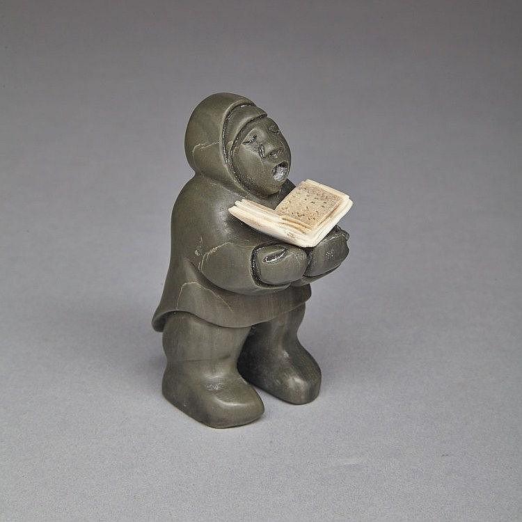 SILAS QAYAQJUAQ (1956-), BELIEVER II, stone, antler, 2.75