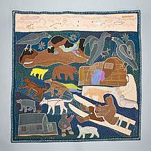 NANCY KANGERYUAQ (1936-), ARCTIC ANIMALS AND PEOPLE, duffel, thread, felt, embroidery floss, 36