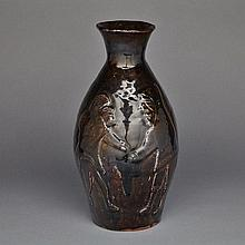 ELI TIKEAYAK (1933-1996), VASE DECORATED WITH TWO FIGURES AND LOON, ceramic, height 13.75