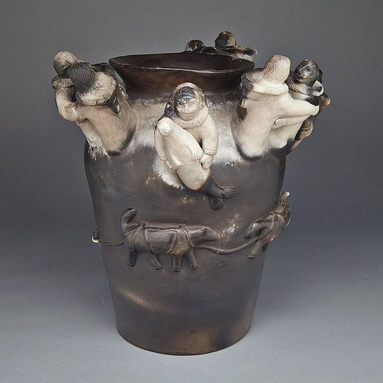 ROGER AKSADJUAK (1972-), DOG TEAM REUNION, ceramic, 16