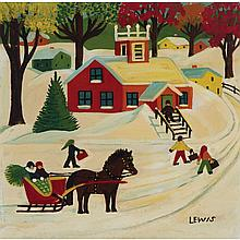 MAUD LEWIS, WINTER SCENE, oil on board, 11.75 ins x 12 ins; 29.8 cms x 30.48 cms