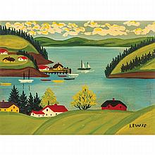 MAUD LEWIS, SANDY COVE, oil on board, 9 ins x 12 ins; 22.9 cms x 30.5 cms