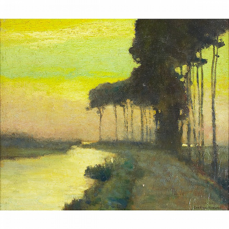 George Elmer Browne (1871-1946), American EVENING STUDY, BRUGES; Oil on canvas; signed lower right, part of the title to the remains of the exhibition label verso18